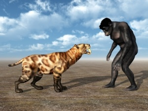 Somewhere in the distant past, our ancestors partnered up with the ancestor of the dog to our mutual benefit.  We know that part of this joint evolution included the dog evolving the behaviour of noticing what we do and what we say.  Incidentally, I know that the Smilodon and the Homo habilis did not co-evolve into Homo sapiens and Canis familiaris, but  the image really caught my eye!  Copyright:  / 123RF Stock Photo